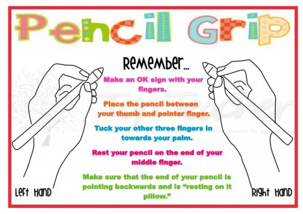 Finger helpers to learn to write and hold a pencil